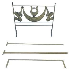 Heavy iron lyre queen headboard and bedframe