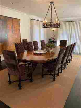 Continental walnut dining table and 14 chairs