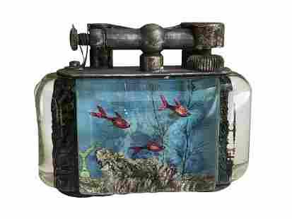 Vintage Dunhill Table Lighter Aquarium Fish