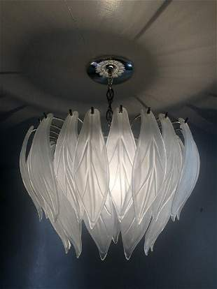 Murano Glass Leaf Pendant Light Fixture