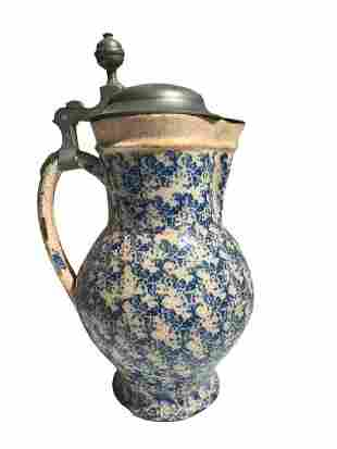 Antique Spongeware Pitcher 1726