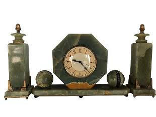 Vintage Art Deco French Garniture Mantle Clock