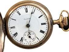 Elgin gold savonette hunting case pocket watch