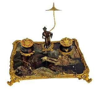 A gilt bronze-mounted Coromandel lacquer inkstand