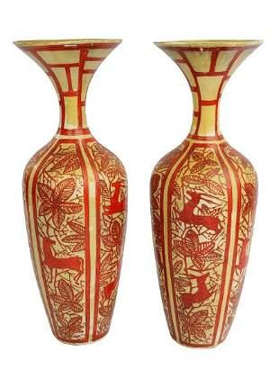 Pair of Persian red decorated pottery vases