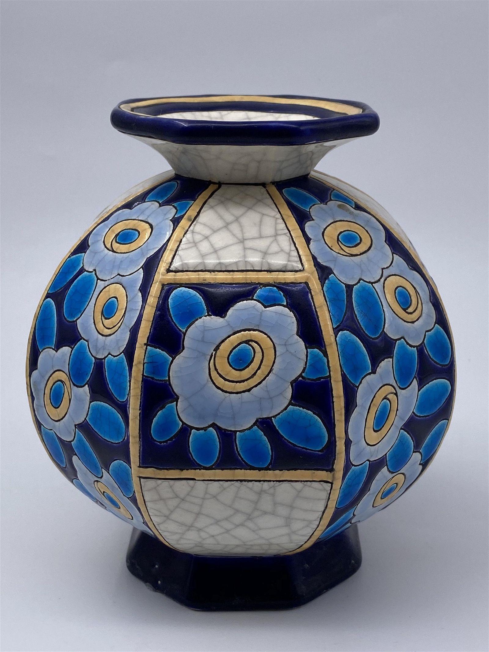 8 paneled Longwy Art Deco Bud Vase