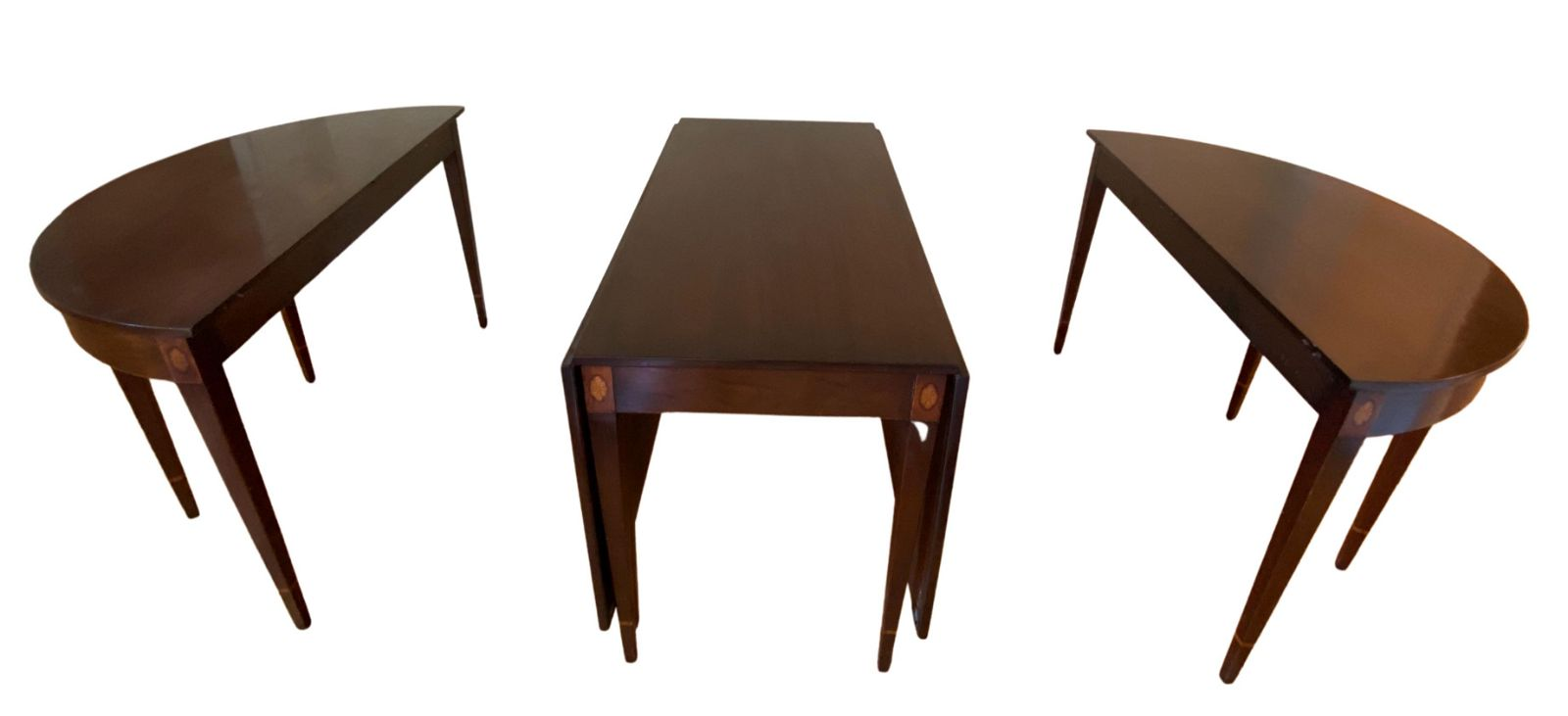 American Federal D-end extending dining table in three