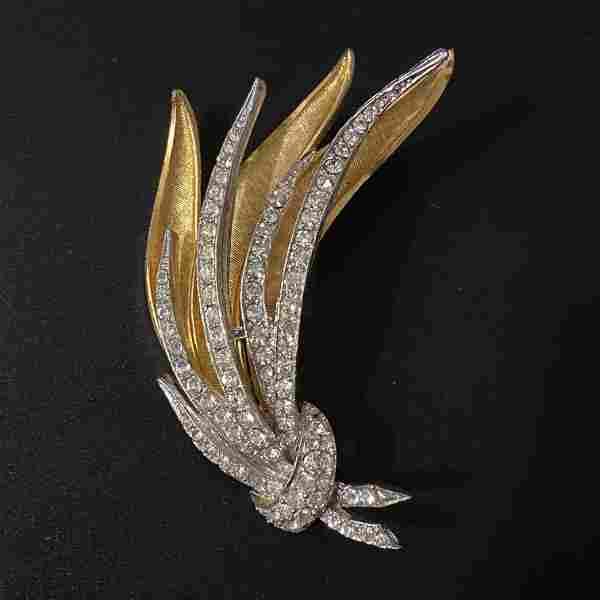 Wheat Leaf Coro Gold Silver Crystal Brooch Vintage