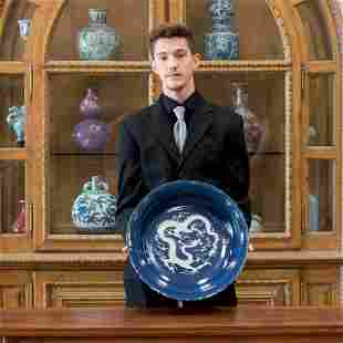 REVERSED BLUE DRAGON & SCALLOPED RIM PLATE