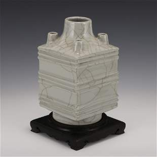 GUAN WARE FOUR MOUTHS CONG VASE ON STAND