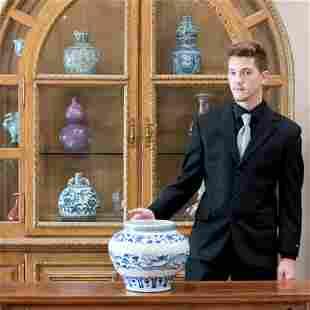 YUAN BLUE & WHITE DRAGON MOTIF JAR