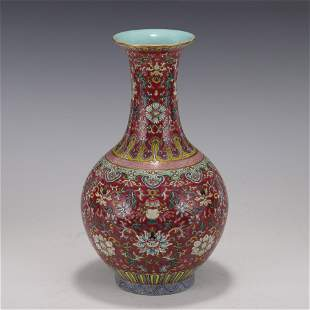 WRAPPED LORAL ON RUBY RED GROUND YUHUCHUN VASE