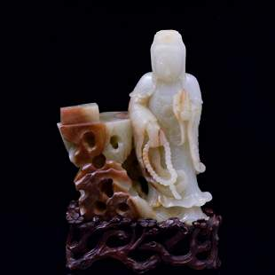 CARVED JADE GUANYIN FIGURE ON STAND