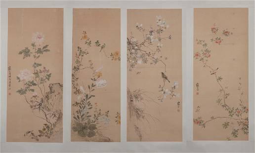 Jiang Hanting, Four Chinese Flower & Bird Painting