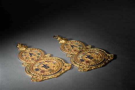 Pair of Gilt Bronze Double-Gourd Daji Hanging Plaques