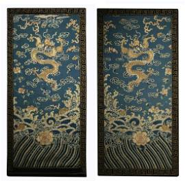 A Pair of  Cloud&Dragon Pattern Embroidery Hanging