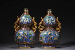 A Pair Of Bronze Enamel Phoenix-Eared Double