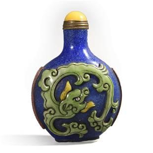A Blue Glass Green Overlay Dragon Snuff Bottle