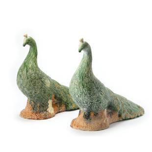 A Pair Of Sancai Glaze Peacock Ornaments