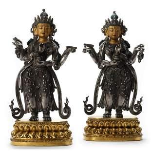 Two Parcel-Gilt Bronze Figures Of Avalokitesvara