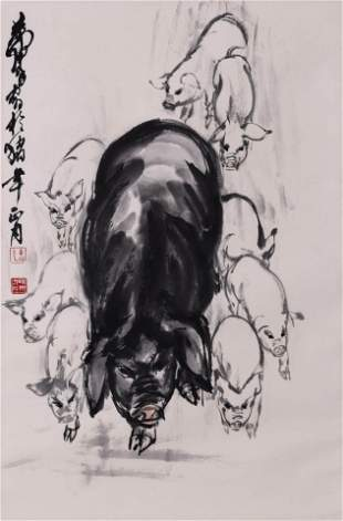 Chinese Pig Group Painting Paper Scroll, Huang Zhou