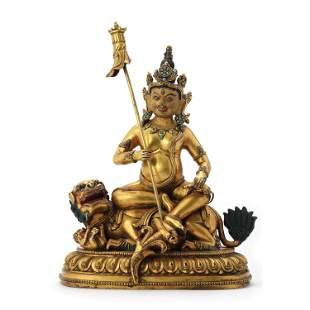 A Gilt Bronze Figure Of Lion Zambala