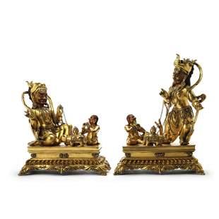 Two Gilt Bronze Figures Of Jambhala