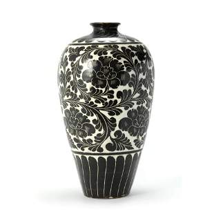 An Incised Sgraffito Floral Meiping Vase