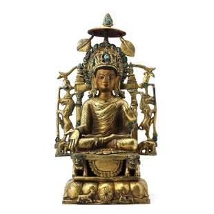 A Swat Style Gilt Bronze Figure Of Shakyamuni