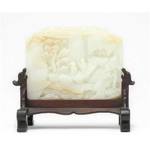 A Carved Hetian White Jade Figure Table Screen