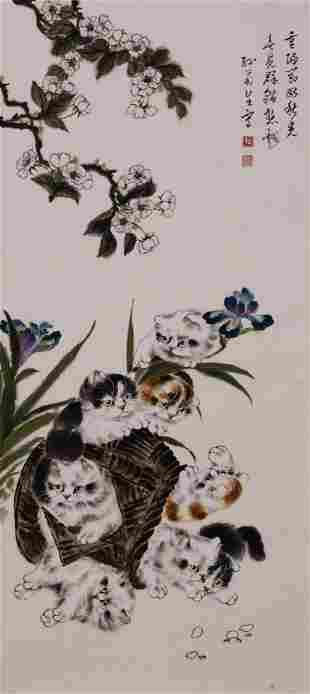 Chinese Cat Group Painting Paper Scroll, Sun Jusheng