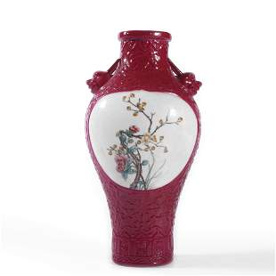 A Rouge Red Glaze Famille Rose Flowers Vase