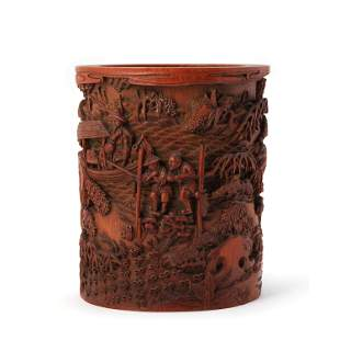 A Carved Wood Figure Fishing Brush Pot