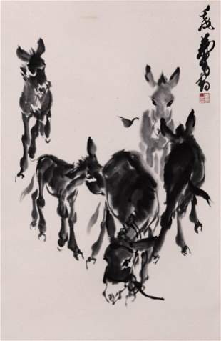 Chinese Five Donkey Painting Paper Scroll, Huang Zhou