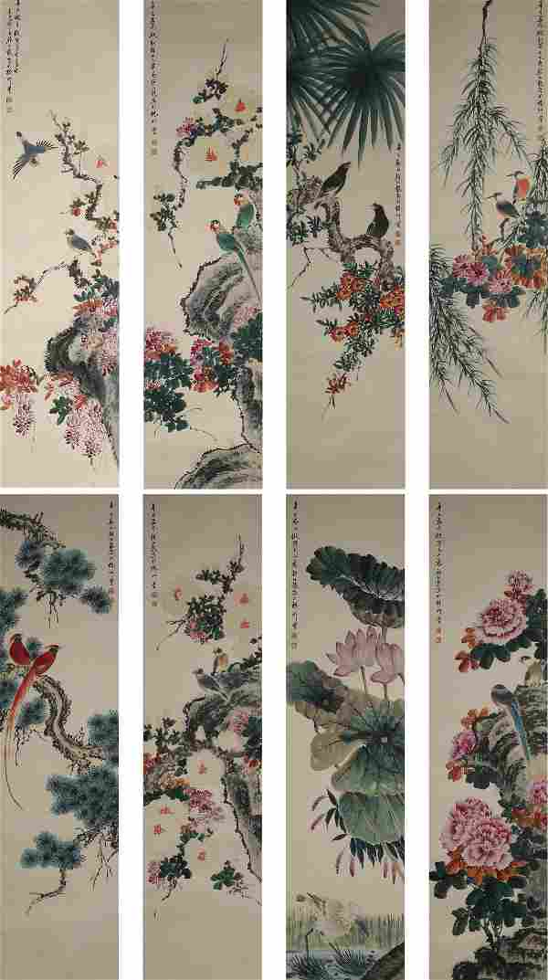 Eight Pieces Chinese Flowers&birds Paintings, Yan
