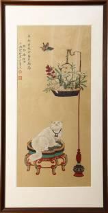A Chinese Cat Painting Silk Scroll, Yu Fei'An Mark