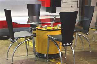 Contemporary Modern Glass Top Table and 4 Chairs