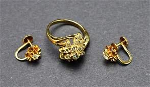 Stunning Ladies 14KT Yellow Gold  Diamond Waterfall Ri