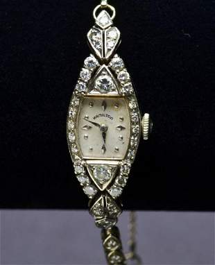 Vintage Ladies Marquise Shaped Hand Wound 14K White Gol