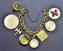 Vintage 14 KT Yellow Gold Charm Bracelet with 14 KT Gol
