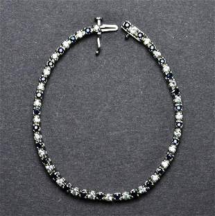 Sterling Silver Bracelet with Prong Set Blue and White
