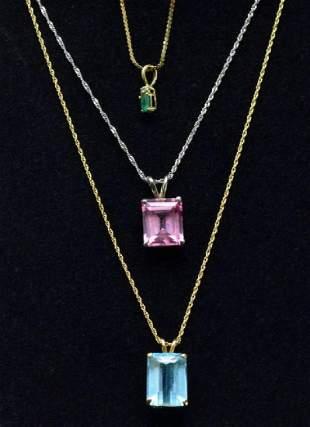 Ladies Collection of 3 Necklace Pendants Blue Topaz Eme