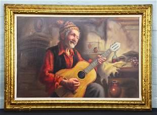 Oil on Canvas Italian Giclee Salvarani of Old Gent w