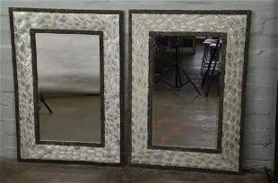 Pair of Large Decorator Modern Beveled Mirrors with Mot