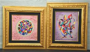 "Pair of Signed Serigraph in Color Canvas ""Kloun Cloun"""