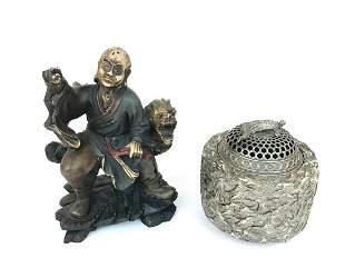 Vintage Oriental Incense Burner and Wood Carved