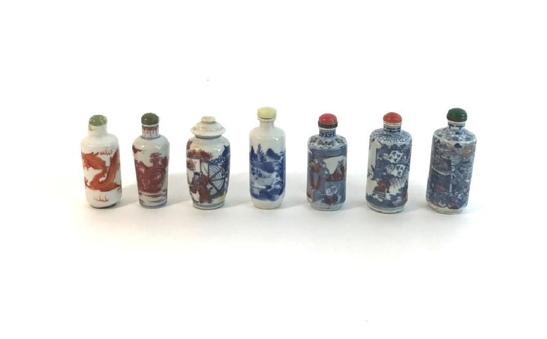 Collection of 7 Antique Oriental Asian Ceramic Blue and