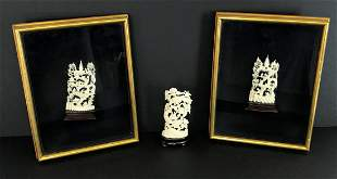 Three Asian Carved Scenes Two in frames Antique
