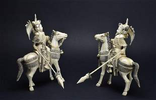 Antique 2 Piece Carved Pachyderm Material Figural