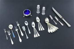Collection of Sterling Salt and Pepper, Caddy, Spoons &